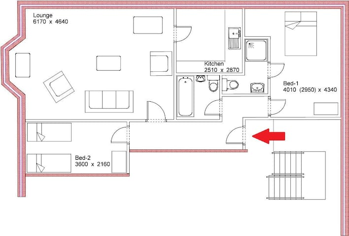Layout plan- rooms are accessed from the main hallway..