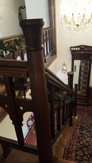 Staircase leading to Turret Suite is from Hotel Albert in Selma, AL which was destroyed in the 1970's