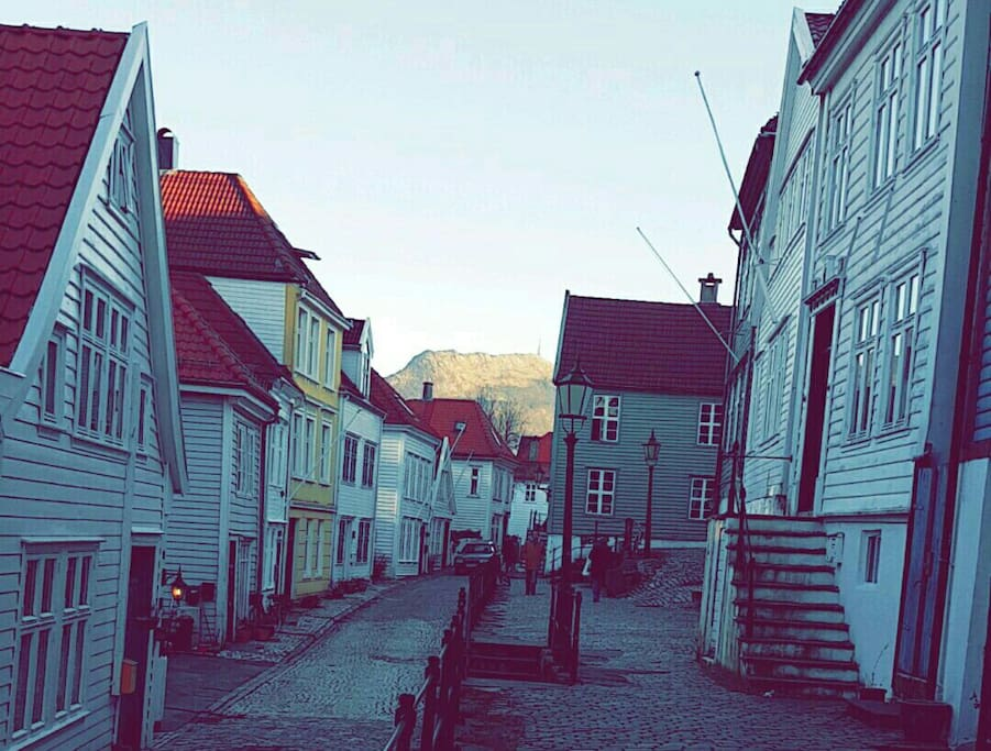 My street with Ulriken Mountain in the background