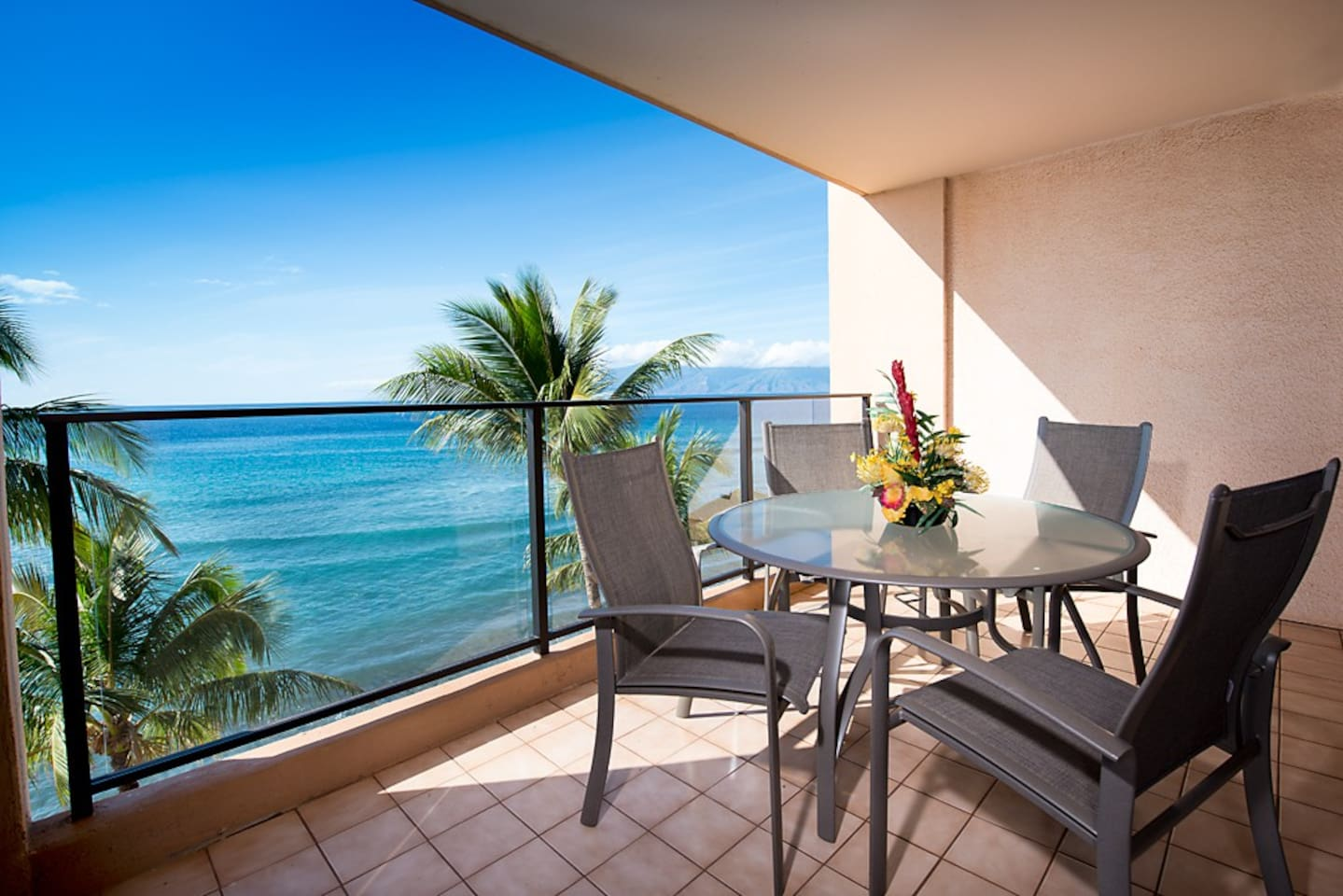 Suite 717 private lanai, view of the island of Molaki and island of Lanai along with gorgeous nightly sunsets.