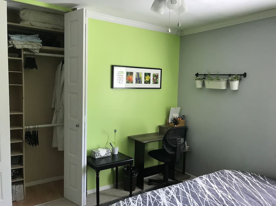 Closet with shelves and hangers included