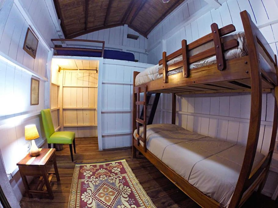 room 2:  1 bunk bed with 2 single beds + 1 extra bed if needed. BEACH VIEWS.