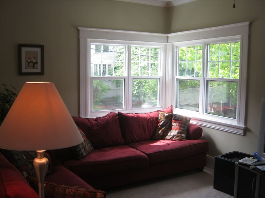 Sunny livingroom with harbour view, two couches, flatscreen tv with cable and Netflix access, electric fireplace.