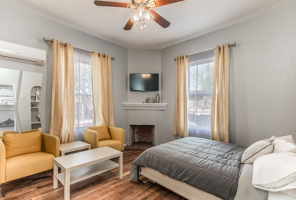 Recently updated! Brand new furniture, bed, TV, and A/C.