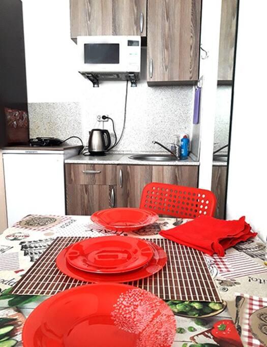 Кухня и обеденная зона в комнате - студии.