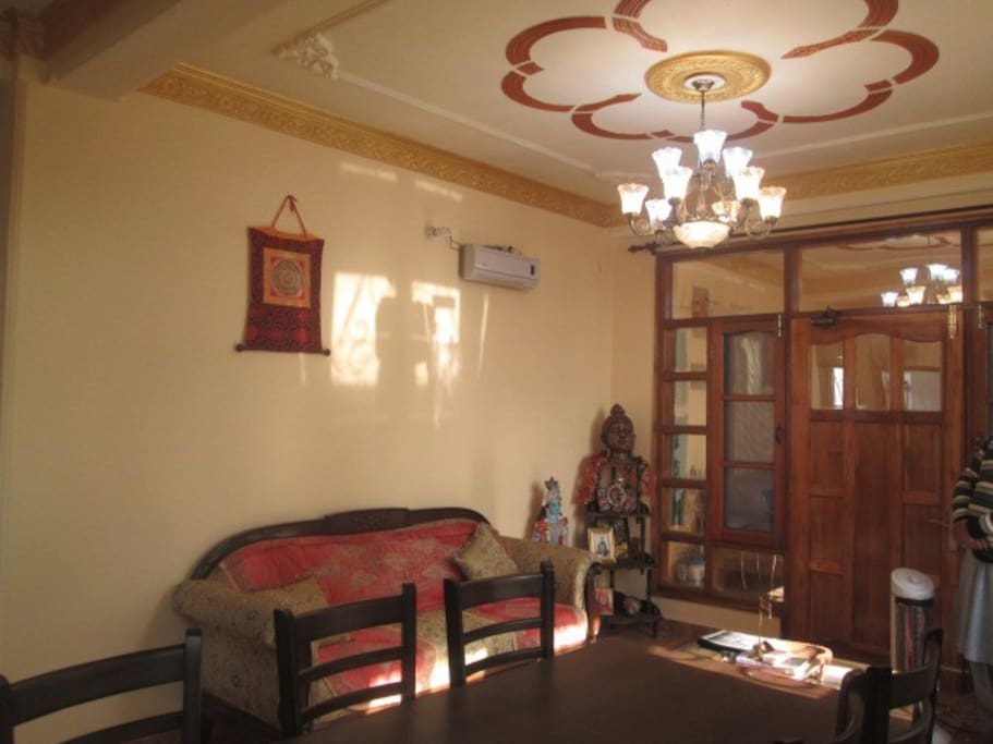 Communal Lounge with heater, plasma TV, Dining space for 8.