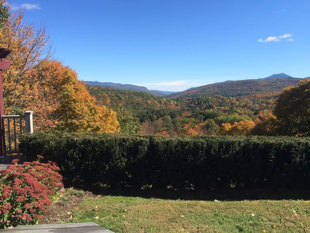 View from back deck.  The mountain to the right is Camel's Hump, the second highest peak in Vermont.