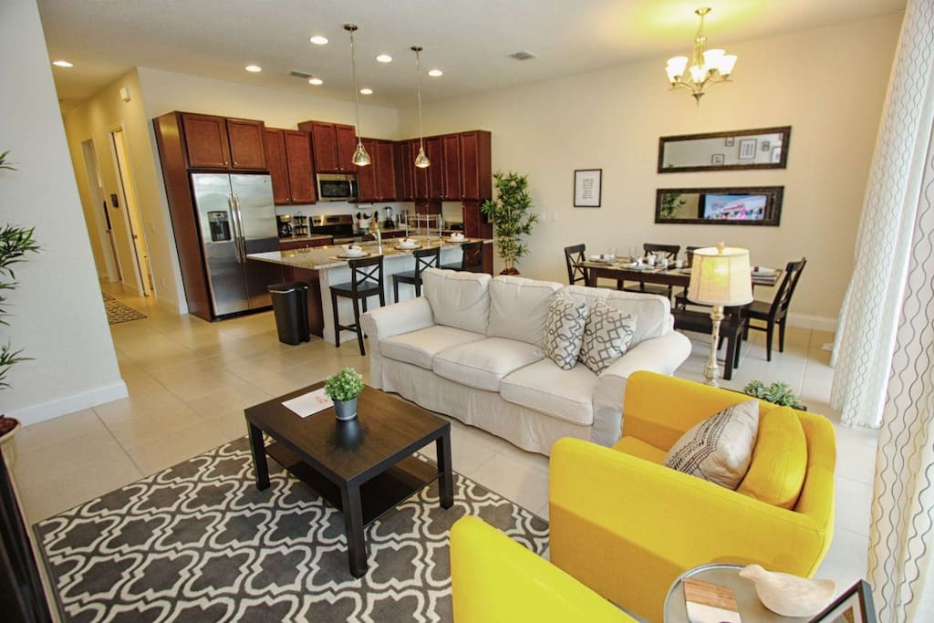 Living Area w/Comfortable Furniture and Flat Screen TV - View #2