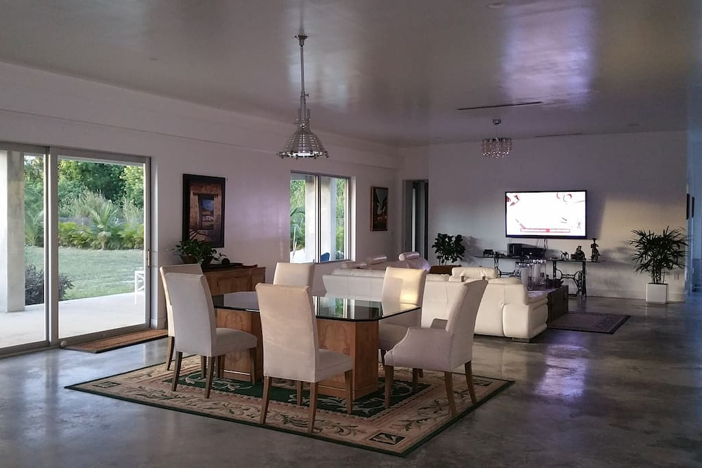 Dining table and family room