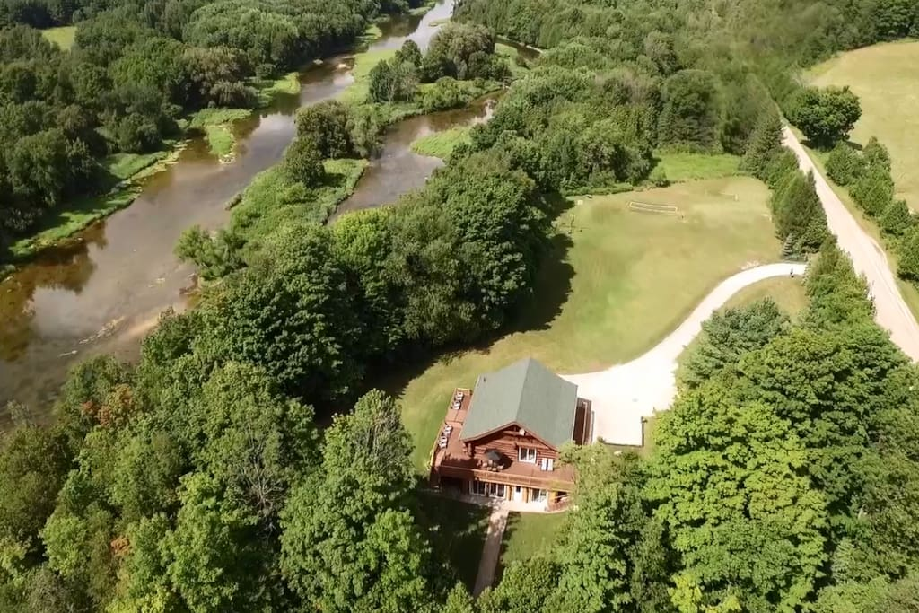 Log home set on 8 acres of riverfront beauty (Maitland River)