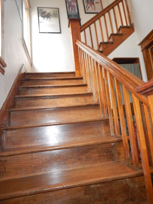 Refinished stairs...original wood throughout the home.