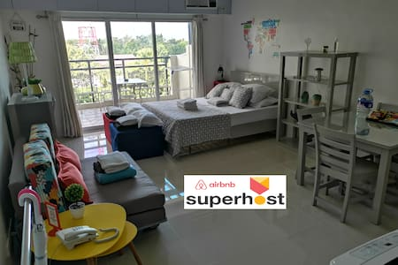 Spacious 40 m² Studio, Balcony, Washer, Pool, Gym