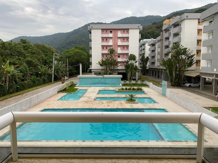 Apto vista p/ piscina#VarandaGourmet#350m praia