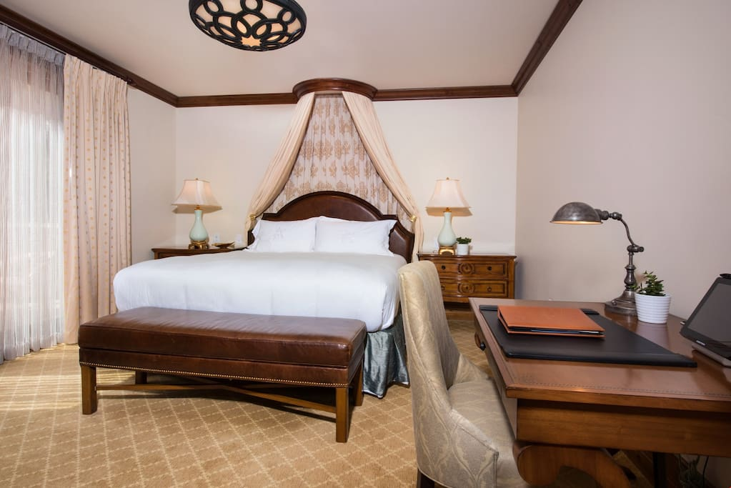 Get a good night's sleep in the plush queen bed.