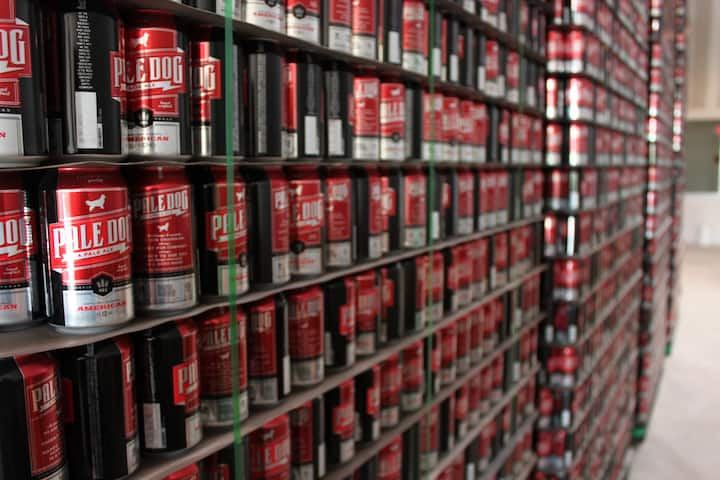 Beer cans ready to be filled