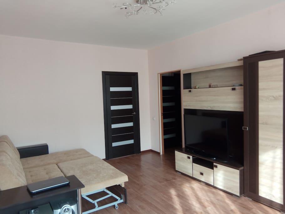 Уютная Гостиная. Проходная комната (проход в спальню и на кухню). В комнате имеется раскладной диван, большой телевизор, шкаф.