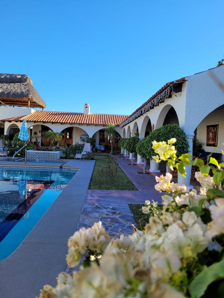 Beautiful hacienda with private pool bar and grill