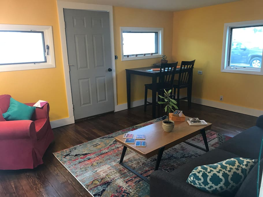 Cozy living room complete with a pull out bed