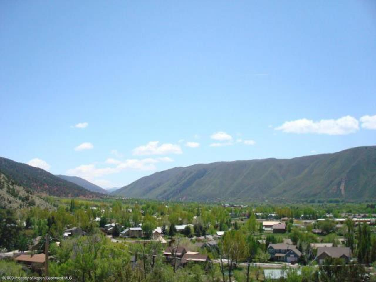 View of Basalt neighborhood, Roaring Fork Club to Aspen Mountain