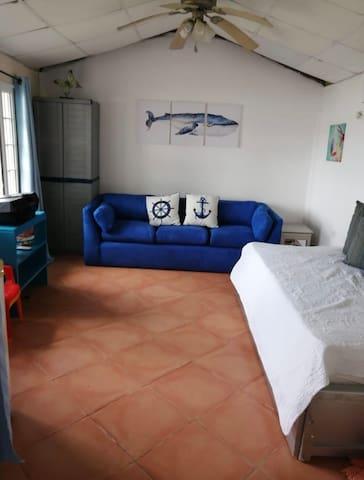 Cuarto número cuatro con cama sencilla y sofá