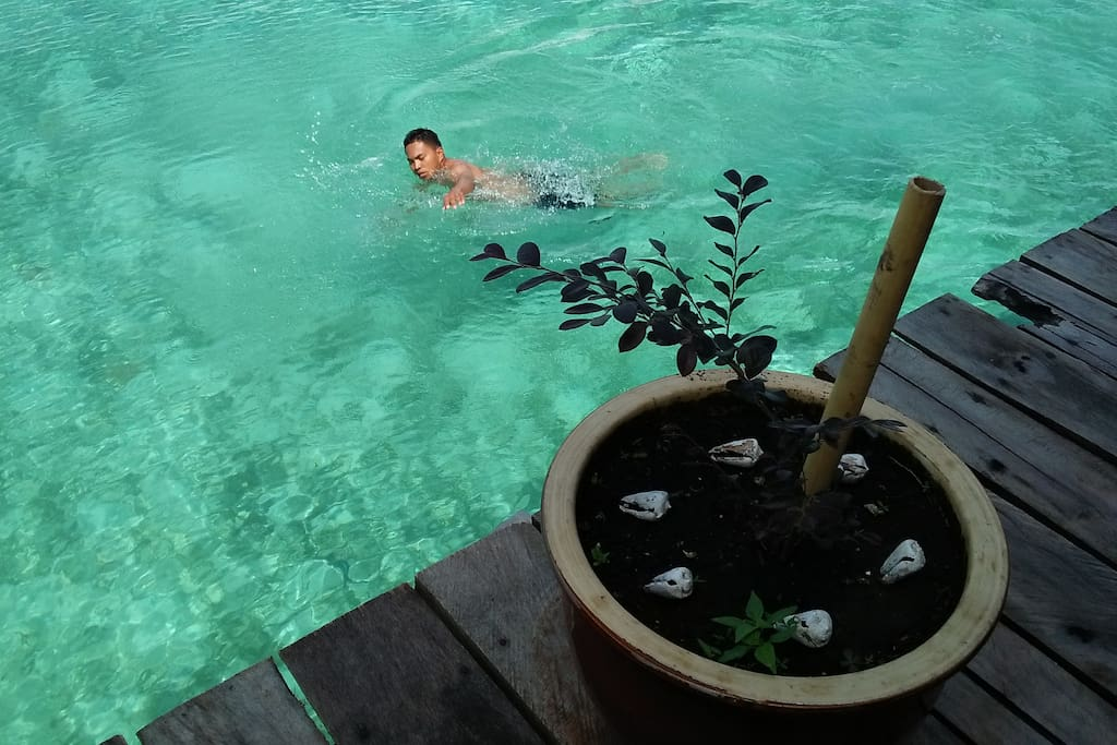 Free swim at anytime in front the resort