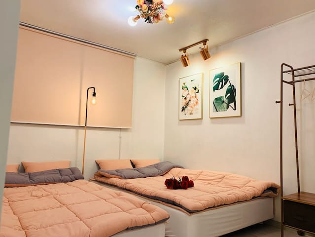 1. two double beds