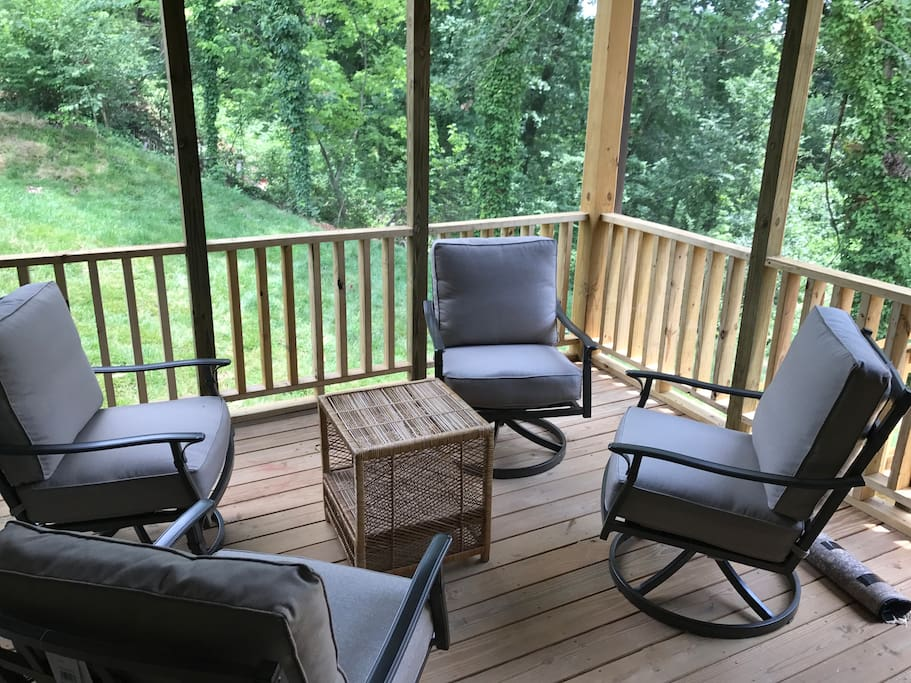Screened in side deck for easy comfort relaxing. Very quiet surroundings with tree line covering 2/3 of back yard.