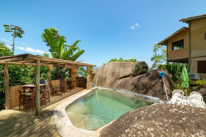 linda Eco casa com vista para mar e 10min. Paraty