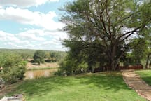 View from kitchen of river and to boma area