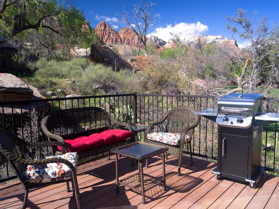 View the majestic cliffs of Zion Canyon from your private deck.