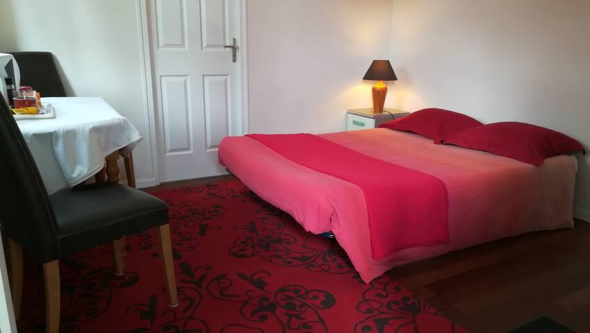 Chambre avec terrasse et salle de douche privée