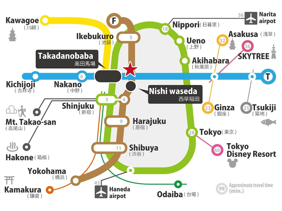 Convenience place to go anywhere by train or subway. (3 stations 5 lines)