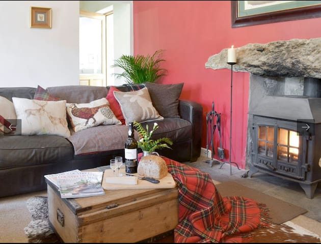 Cosy living area with wood burner