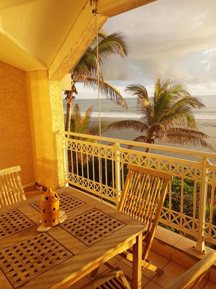 Apartment with one bedroom in Les Trois Bassins, with wonderful sea view, furnished balcony and WiFi