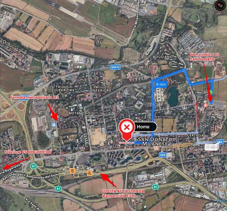Next to the tube, the railway station, the Milano Linate airport and the highway. A 9 minuti dal policlinico di S. Donato