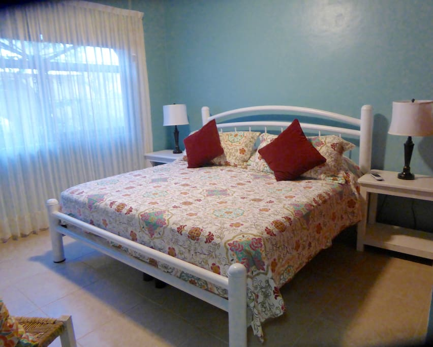 The Blue room with pillow top king bed & ensuite bathroom