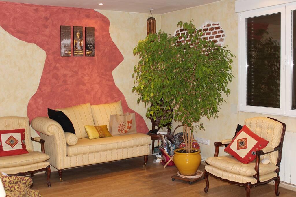Salón con confortable diván y cálida decoración.
