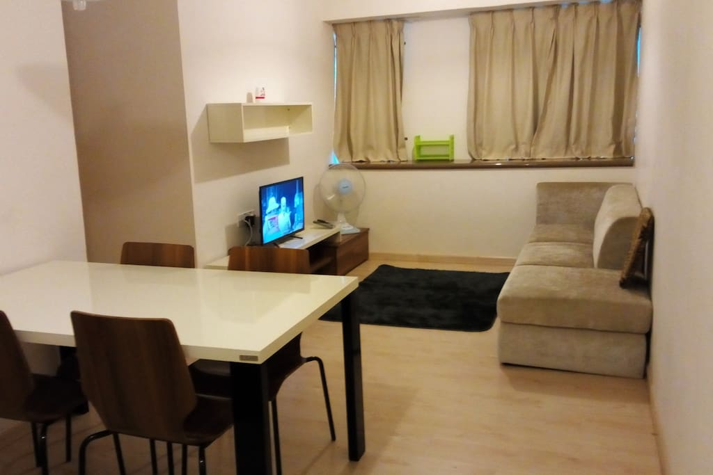 Airconditioned living room with desk fan