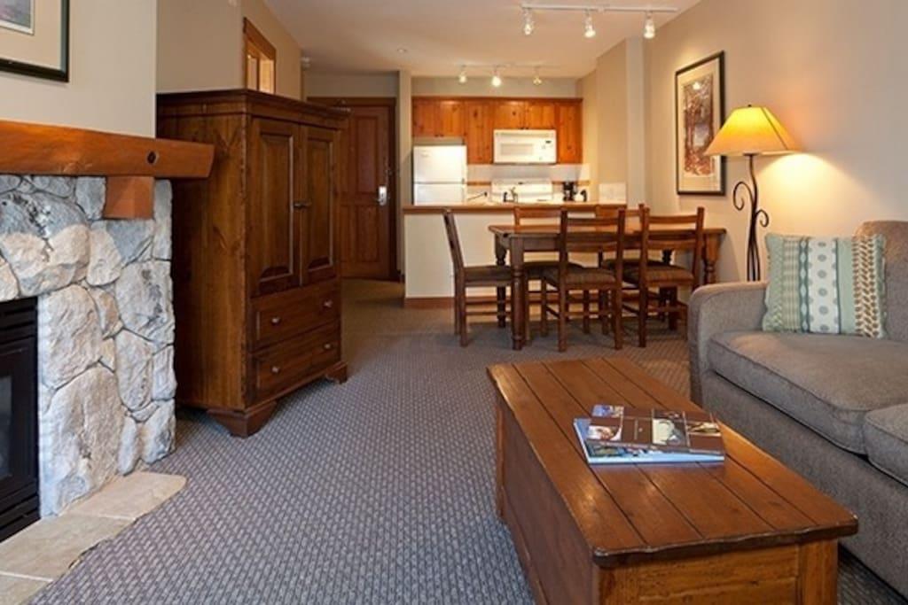 An open-floor plan makes this condo feel roomy