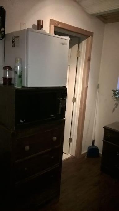 Fridge and microwave avail. next to Bathroom