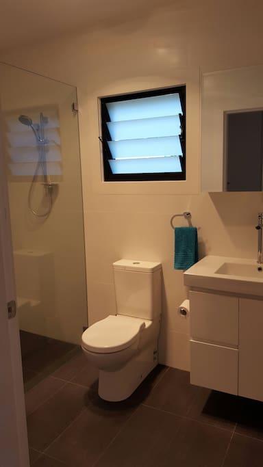 Shower & toilet.