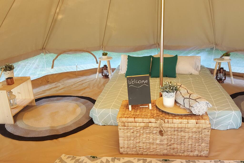 Inside the bell tent.