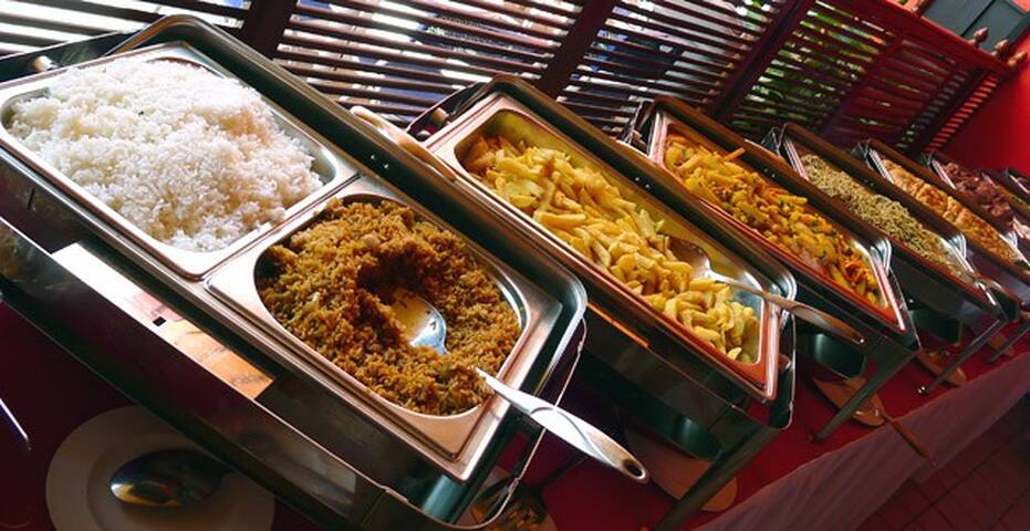 RESTAURANT You can order using Menu or self service.  We are flexible to serve you anytime you arrive