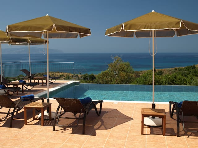 Sea views from the patio and private pool