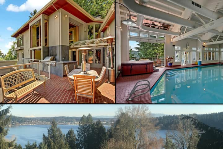 Oasis w/ heated indoor pool, hot tub & lake views