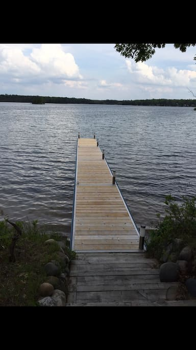 Our dock. There is a pontoon boat rental on the lake if interested.