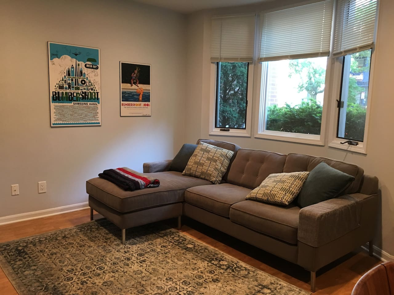 Cozy family room with bay window!