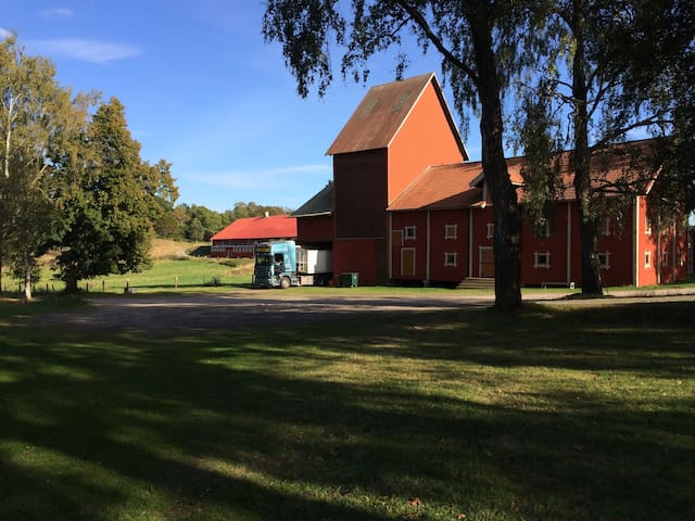 The farmhouse is on the right, next to it is the old drying station for crops. It will not be in use while you are staying with us. To the left you see one of the horse pastures.