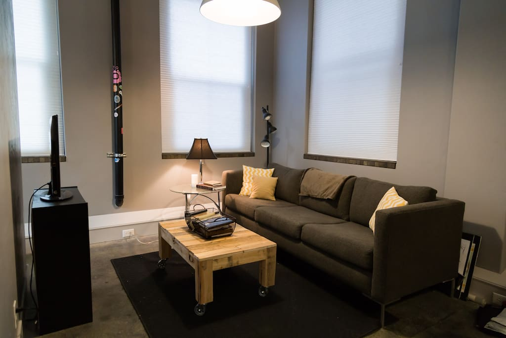 Cozy living room with vizeo tv and bookcase