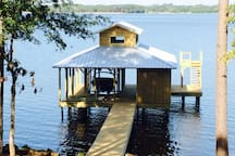 Boathouse with jumping platform. Note: owners boat off limits